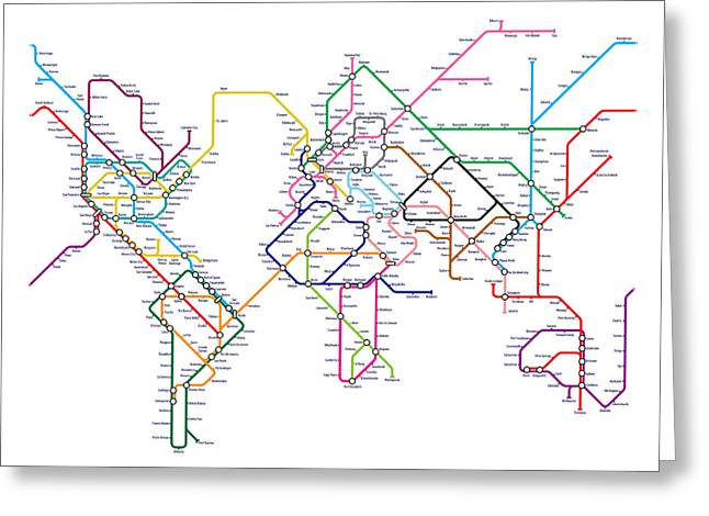 Maps Greeting Cards - World Metro Tube Map Greeting Card by Michael Tompsett