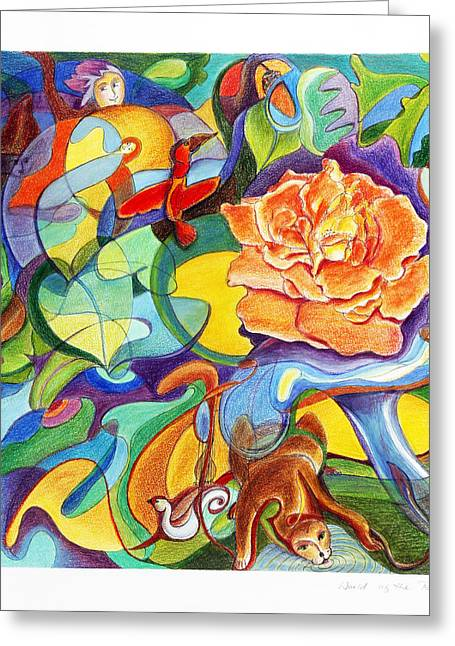 Inner World Drawings Greeting Cards - World of the Rose Greeting Card by Monika Kretschmar