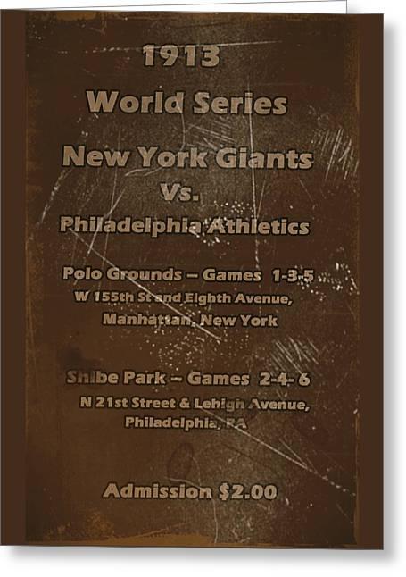 Shibe Greeting Cards - World Series 1913 Greeting Card by David Dehner