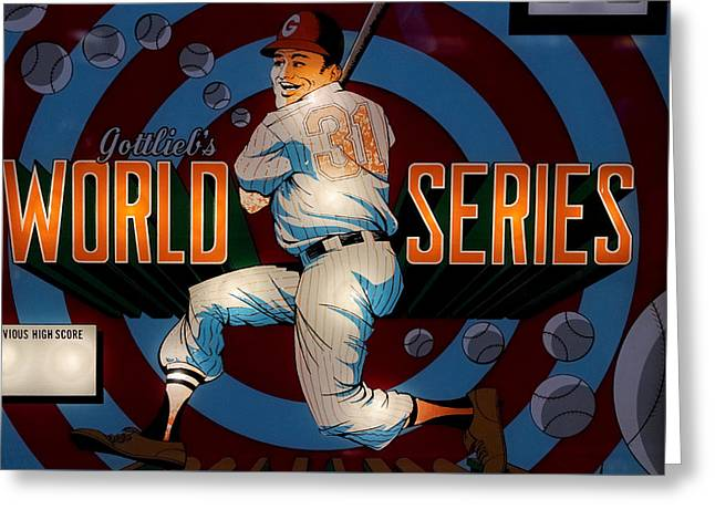 Fast Ball Greeting Cards - World Series Pinball Greeting Card by Colleen Kammerer