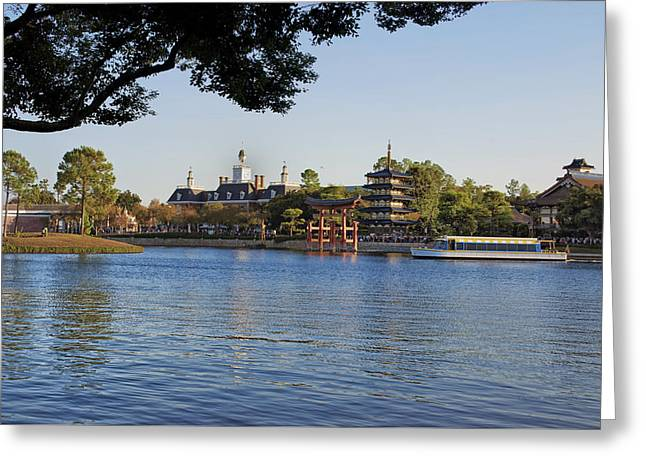 Princes Greeting Cards - World Showcase Lagoon Boat Ride WDW 07 Greeting Card by Thomas Woolworth