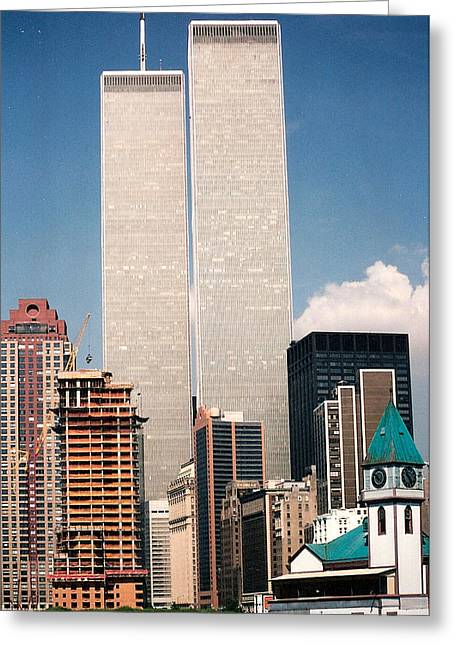 11 Wtc Greeting Cards - World Trade Center 1990 Greeting Card by Lauri Novak