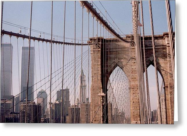 World Trade Center And Brooklyn Bridge Greeting Card by Christopher Kirby