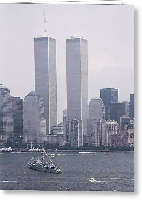 Wtc 11 Greeting Cards - World Trade Center and OpSail 2000 July 4th Photo 6 Greeting Card by Sean Gautreaux
