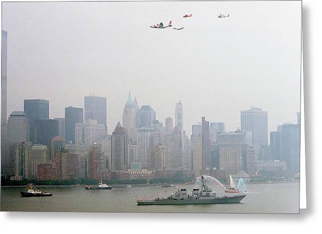 Wtc 11 Greeting Cards - World Trade Center and OpSail 2000 July 4th USCG Photo 17  Greeting Card by Sean Gautreaux
