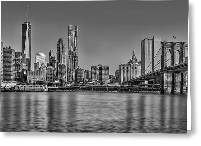 Freedom Greeting Cards - World Trade Center And The Brooklyn Bridge BW Greeting Card by Susan Candelario