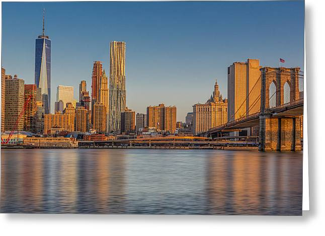 Urban Greeting Cards - World Trade Center And The Brooklyn Bridge Greeting Card by Susan Candelario