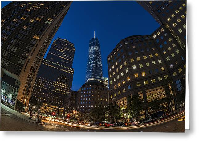 World Trade Centre Greeting Cards - World Trade Center At Twilight, Battery Greeting Card by F. M. Kearney