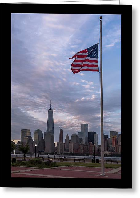 World Trade Center Freedom Tower New York City American Flag Greeting Card by Terry DeLuco