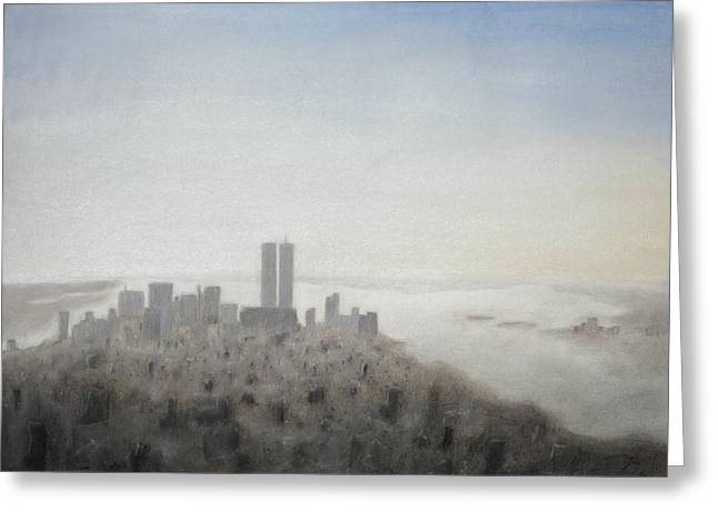 Center City Pastels Greeting Cards - World Trade Center Greeting Card by Janel Bragg