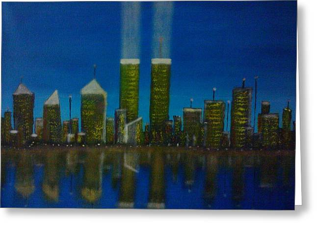 Wtc 11 Paintings Greeting Cards - World Trade Center Greeting Card by Jason Walburn