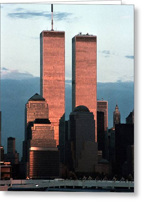 Wtc 11 Greeting Cards - World Trade Center Photograph Evening Gold Greeting Card by Sean Gautreaux