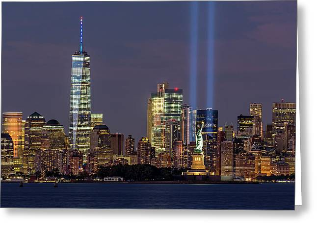 World Trade Center Wtc Tribute In Light Memorial Greeting Card by Susan Candelario