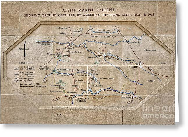 World War I Marne Battle Map  Greeting Card by Olivier Le Queinec