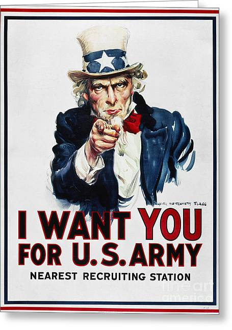 Flagg Greeting Cards - World War I: Uncle Sam Greeting Card by Granger