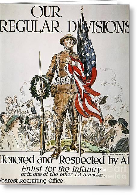 Flagg Greeting Cards - World War I: U.s. Army Greeting Card by Granger