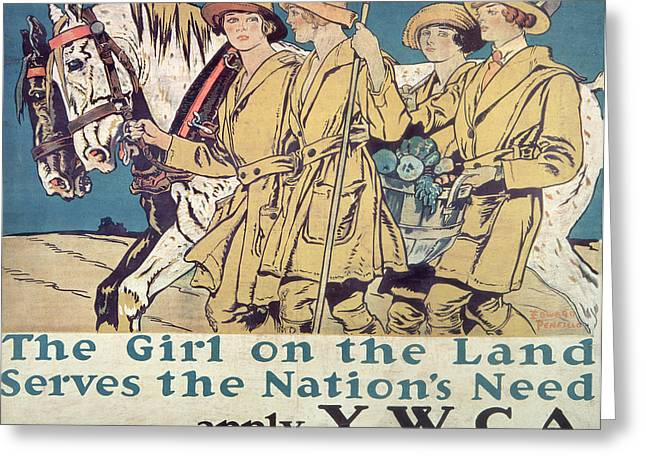 Wwi Paintings Greeting Cards - World War I YWCA poster  Greeting Card by Edward Penfield