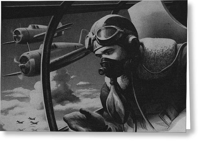 World War 2 Drawings Greeting Cards - World War II Fighter Pilot Greeting Card by American School
