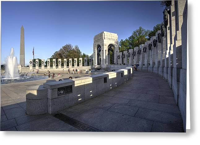 Historic Statue Greeting Cards - World War II Memorial and Washington Monument II Greeting Card by Daniel Portalatin