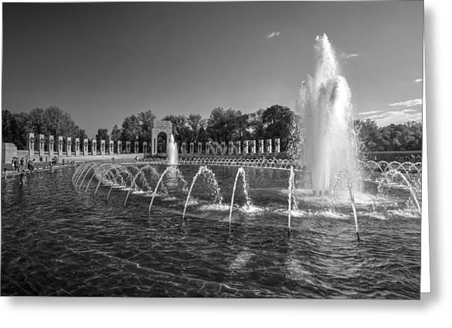 Historic Statue Greeting Cards - World War II Memorial Pool Greeting Card by Daniel Portalatin