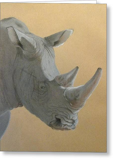 Rhinoceros Greeting Cards - World weary or world wary Greeting Card by Fiona Rowley