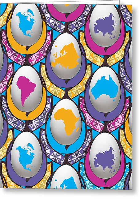 World Wide Egg Greeting Card by Francois Domain