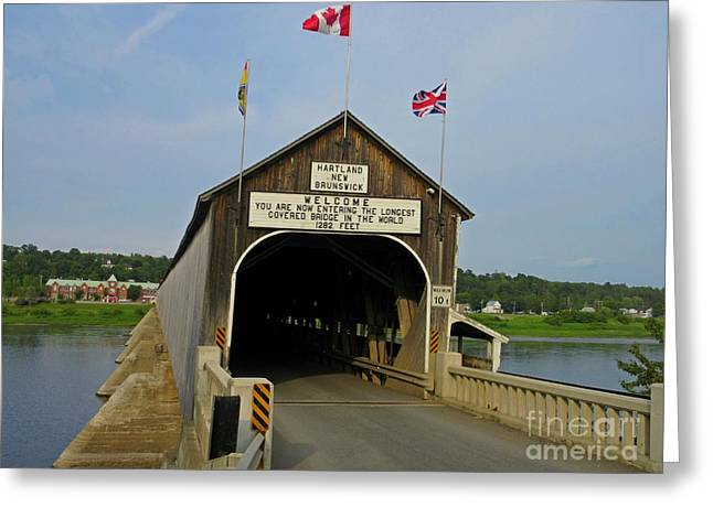 Famous Bridge Greeting Cards - Worlds Longest Covered Bridge Greeting Card by Crystal Loppie