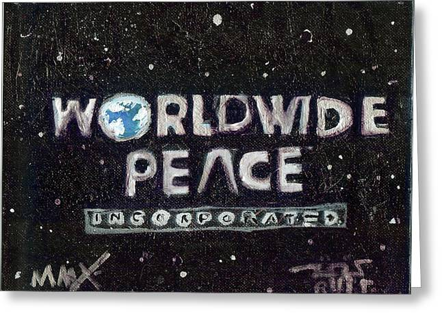 Rwjr Drawings Greeting Cards - Worldwide Peace Incorporated Greeting Card by Robert Wolverton Jr