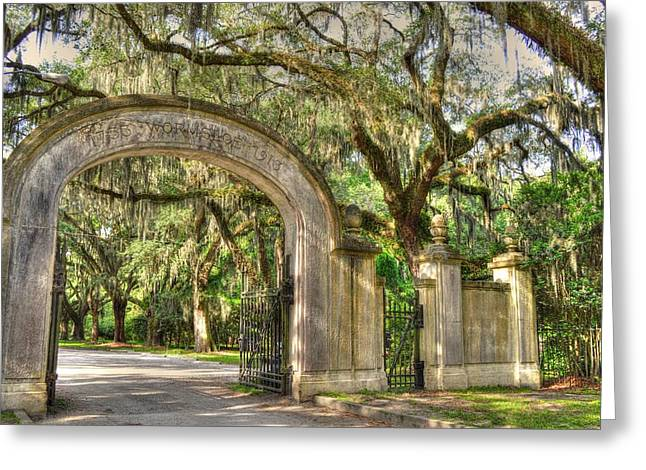 Historic Site Greeting Cards - Wormsloe Gate Greeting Card by Linda Covino