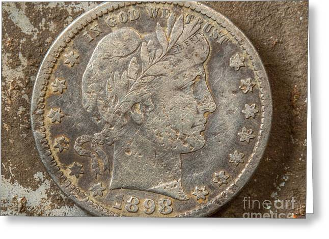 Coins Greeting Cards - Worn and Frayed Silver Quarter Greeting Card by Randy Steele