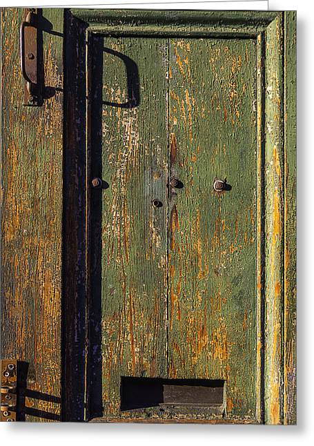 Worn Green Door Greeting Card by Garry Gay