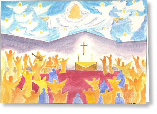 Worship God Paintings Greeting Cards - Worship God In Spirit and Truth Greeting Card by Audrey Peaty