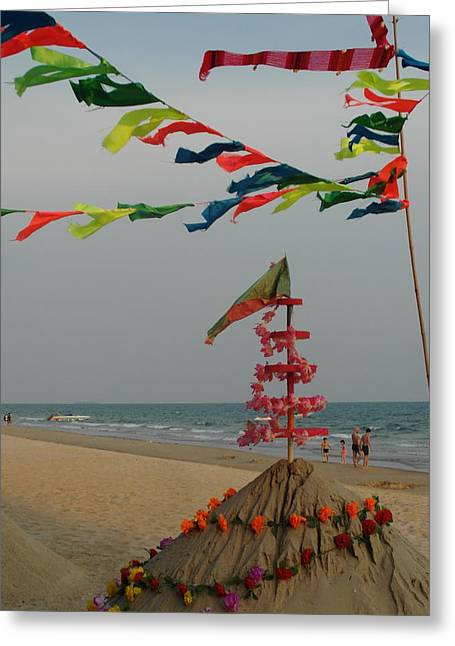 Sand Castles Greeting Cards - Worship the Sea Greeting Card by Ian Scholan