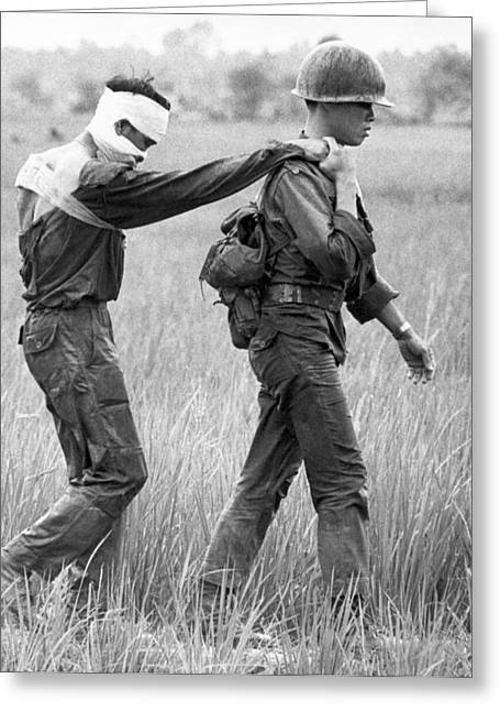 Wounded Vietnamese Soldier Greeting Card by Underwood Archives