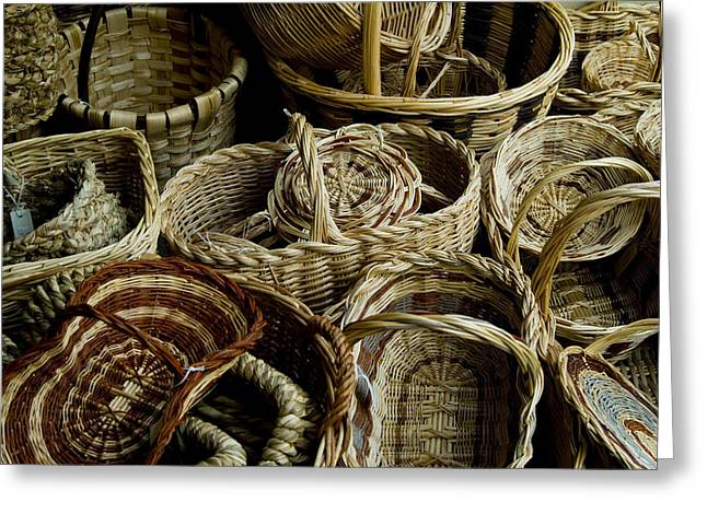 Chianti Greeting Cards - Woven Baskets For Sale At A Market Greeting Card by Todd Gipstein
