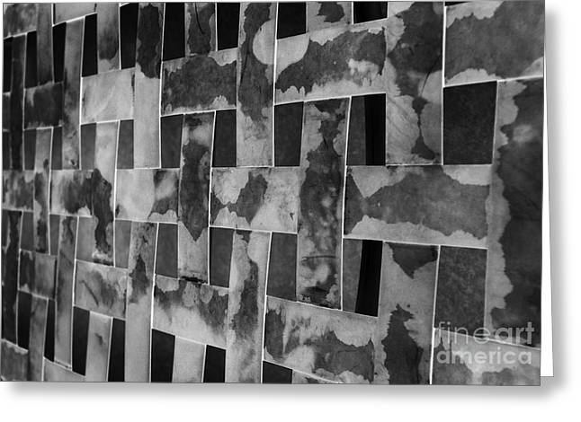 Woven Black And White Textured Bands Greeting Card by Mark Hendrickson