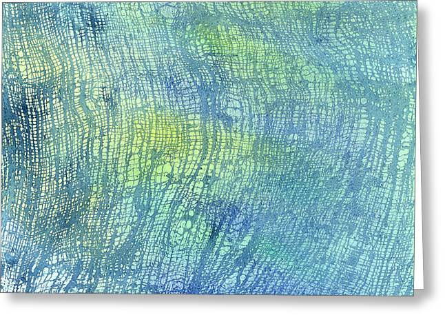 Cushion Greeting Cards - Woven Watercolor Texture Design Blue Gold Square 1 Greeting Card by Sharon Freeman