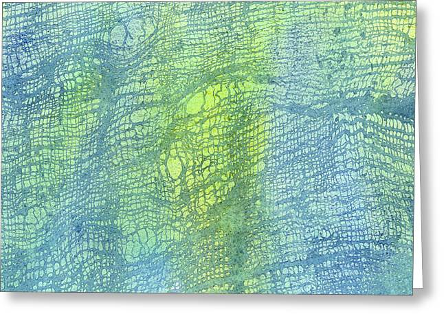 Woven Watercolor Texture Design Blue Gold Square 2 Greeting Card by Sharon Freeman