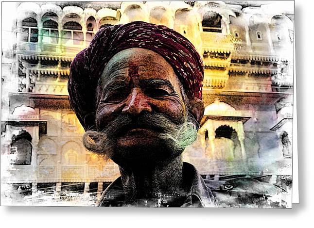 Royal Art Greeting Cards - Wow Moustache Jaisalmer Fort India Rajasthan Greeting Card by Sue Jacobi