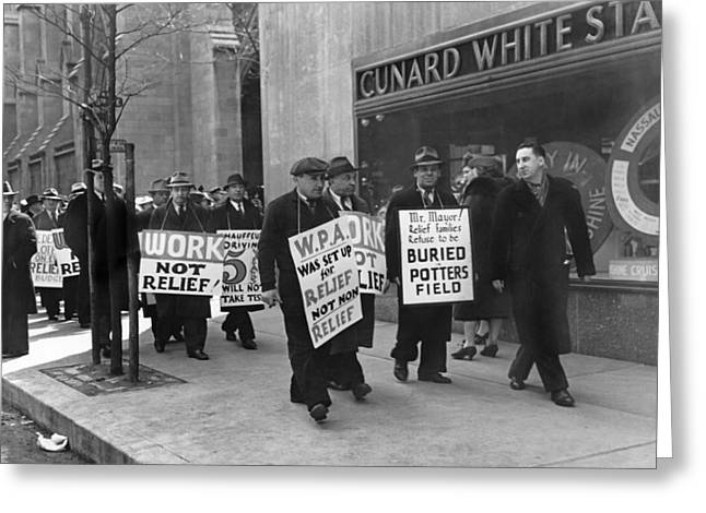 Protest Greeting Cards - WPA Pickets On Fifth Avenue Greeting Card by Underwood Archives