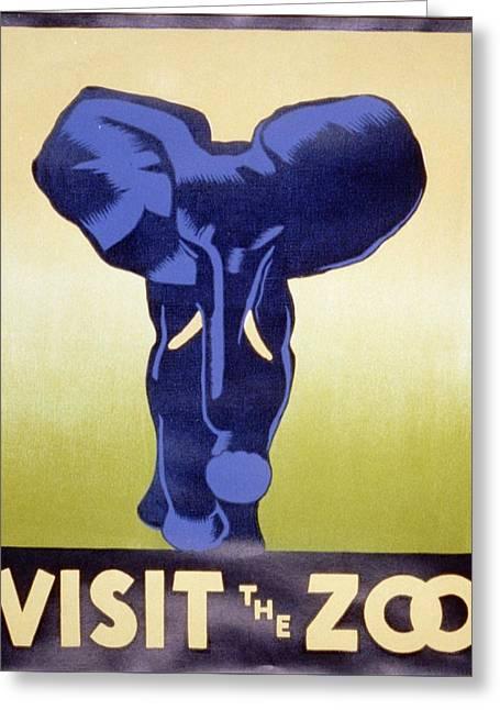 Wpa Prints Greeting Cards - WPA Poster zoo2 Greeting Card by David Lane