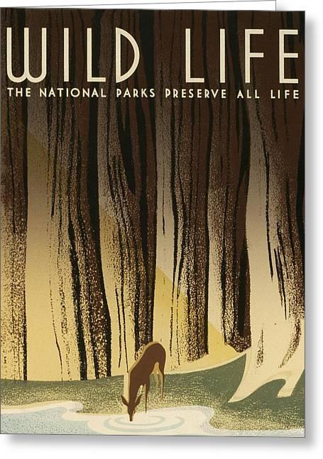 Wpa Prints Greeting Cards - WPA Wildlife 2 Greeting Card by David Lane