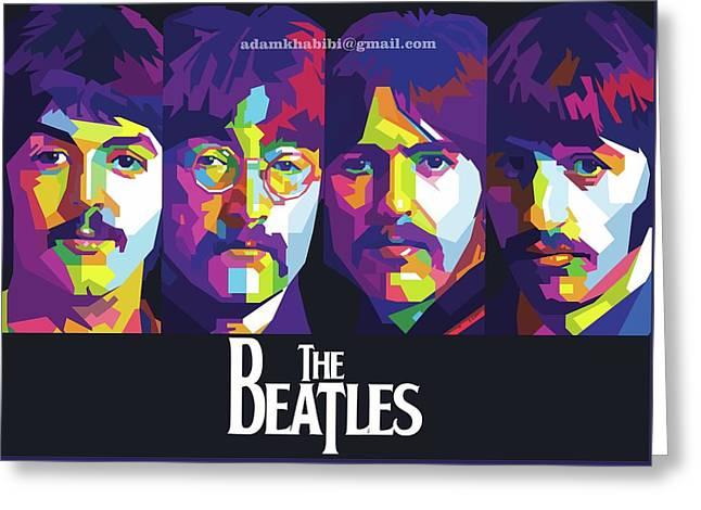 Wpap The Beatles Greeting Card by Adam Khabibi