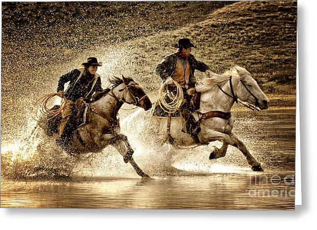 Wrangler Greeting Cards - Wranglers Race Greeting Card by Heather Swan