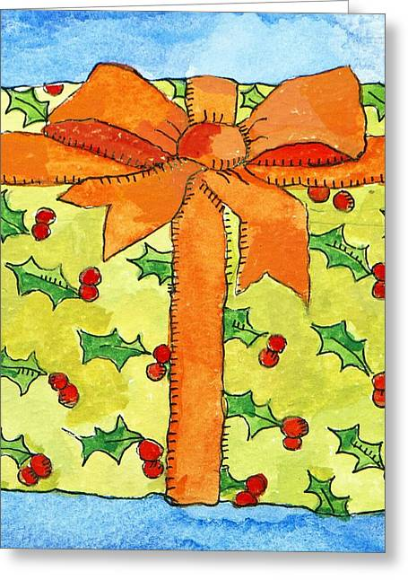 Present Paintings Greeting Cards - Wrapped gift Greeting Card by Jennifer Abbot