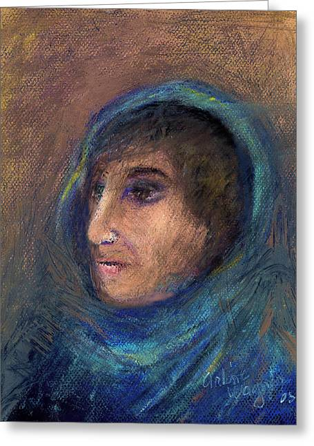 People Pastels Greeting Cards - Wrapped In A Shawl Greeting Card by Arline Wagner