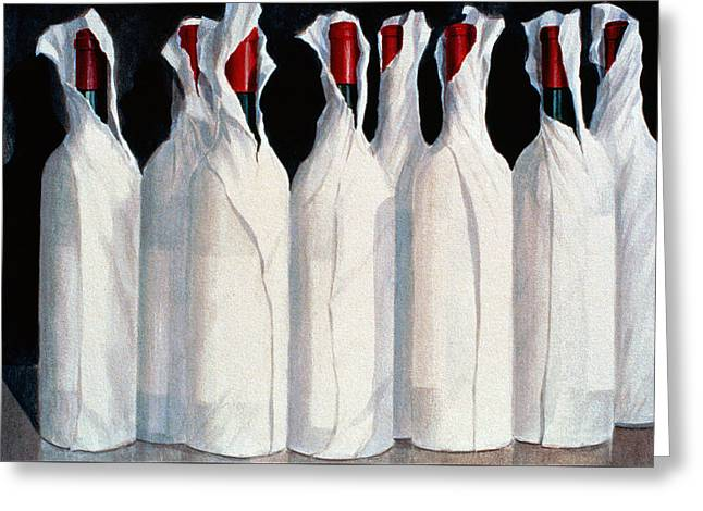 Red Wine Greeting Cards - Wrapped Wine Bottles  Number One Greeting Card by Lincoln Seligman