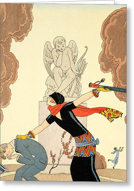 Beaux-arts Greeting Cards - Wrath Greeting Card by Georges Barbier