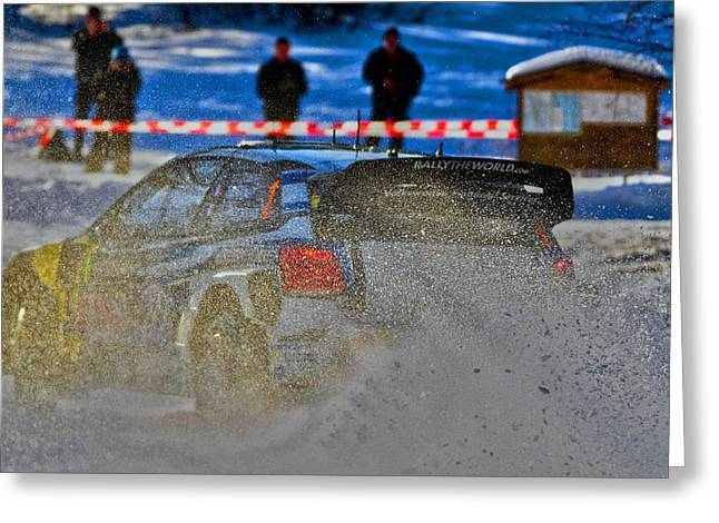 Wrc Greeting Cards - WRC Car on the Limit  Greeting Card by Stefan Pettersson