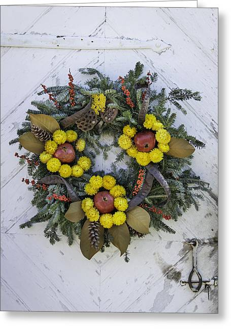 Sheds Greeting Cards - Wreath at Colonial Nursery in Williamsburg Greeting Card by Teresa Mucha